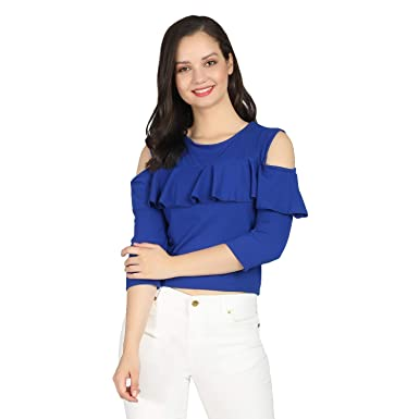 386d65f4d32 Raabta Royal Blue Cold shoulder top with full sleeves: Amazon.in ...