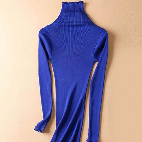GDCAKMI Jerseys de Cuello Alto sólido para Mujer 80% de Seda 20% de algodón suéteres de Corte Ajustado de Costilla Otoño Invierno Ropa de Punto de Fondo: Amazon.es: Deportes y aire libre