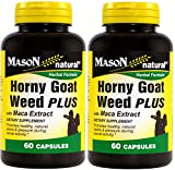 Mason Natural Horny Goat Weed Plus With Maca Extract 60 Capsules per Bottle Pack of 2 Bottles Total 120 Caps For Sale