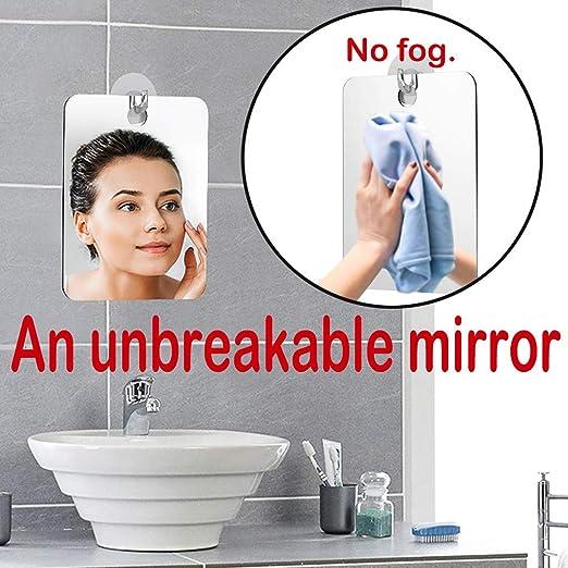 Unbreakable Fogless Shaving Mirror Anti Fog Shower Travel Mirror for Bathroom