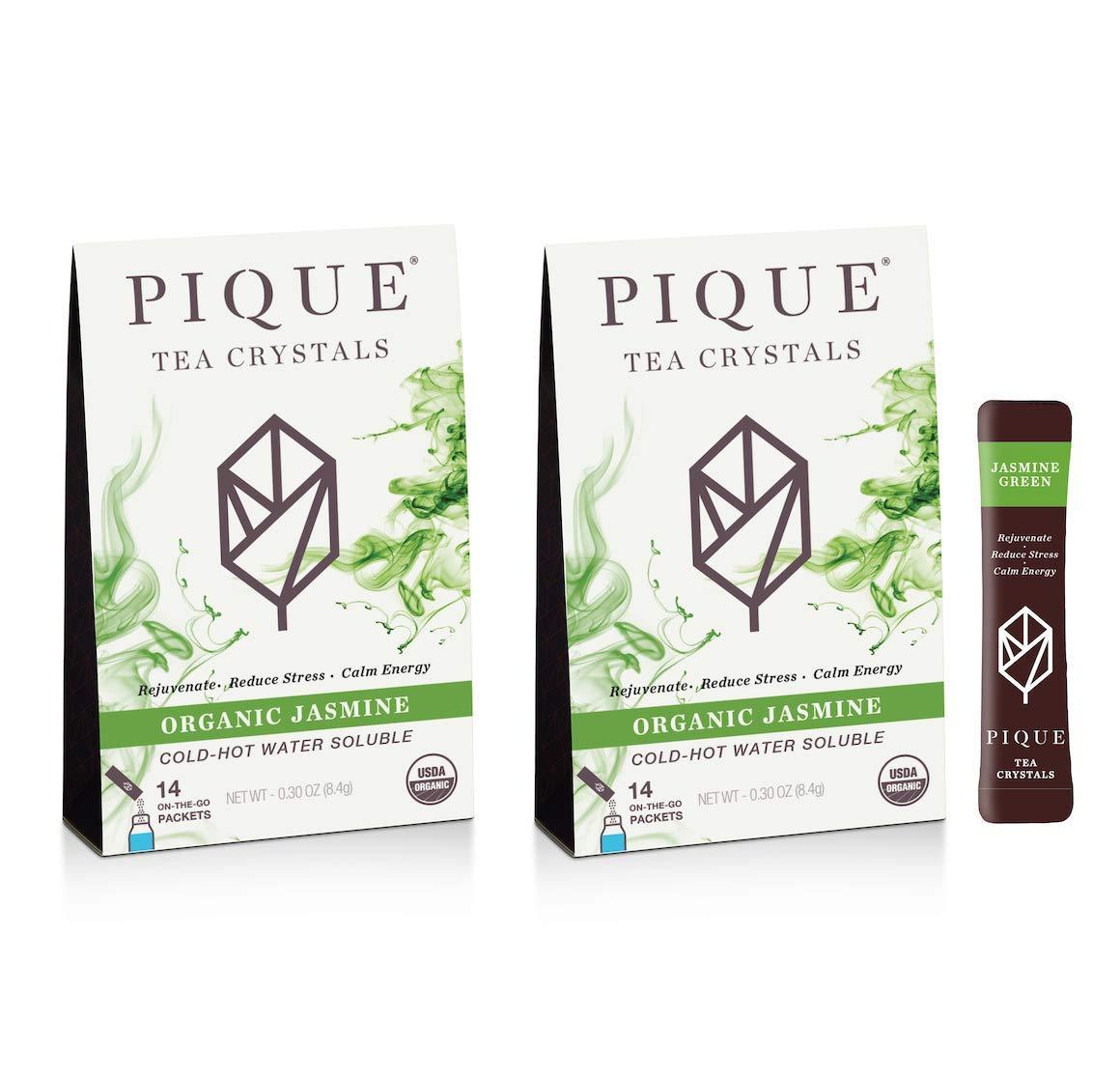 Pique Tea Organic Jasmine Green Tea Crystals - Gut Health, Fasting, Calm - 28 Single Serve Sticks (Pack of 2)
