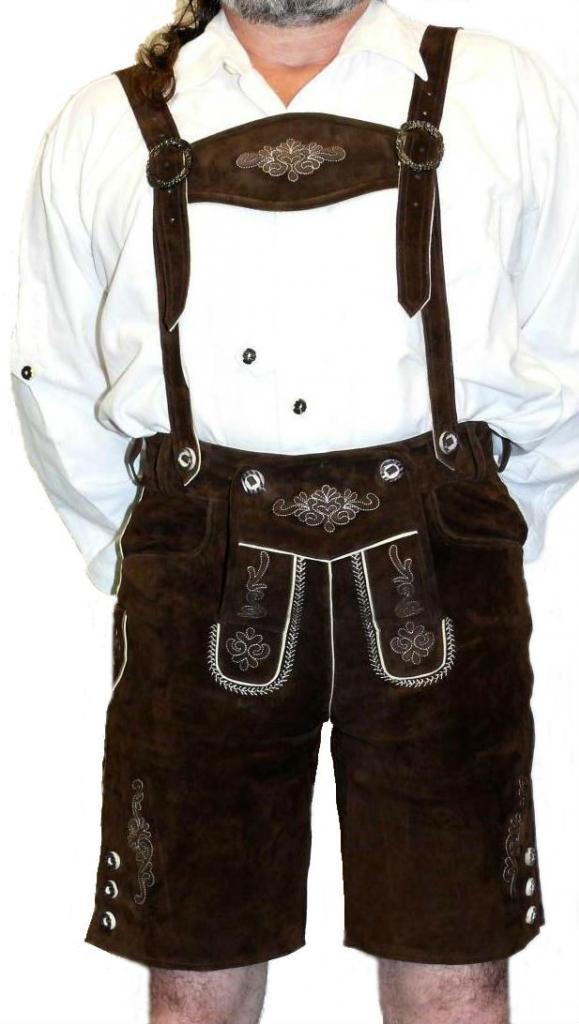 2-Piece Leather German Oktoberfest Lederhosen Shorts Brown by Dirndl Trachten Haus