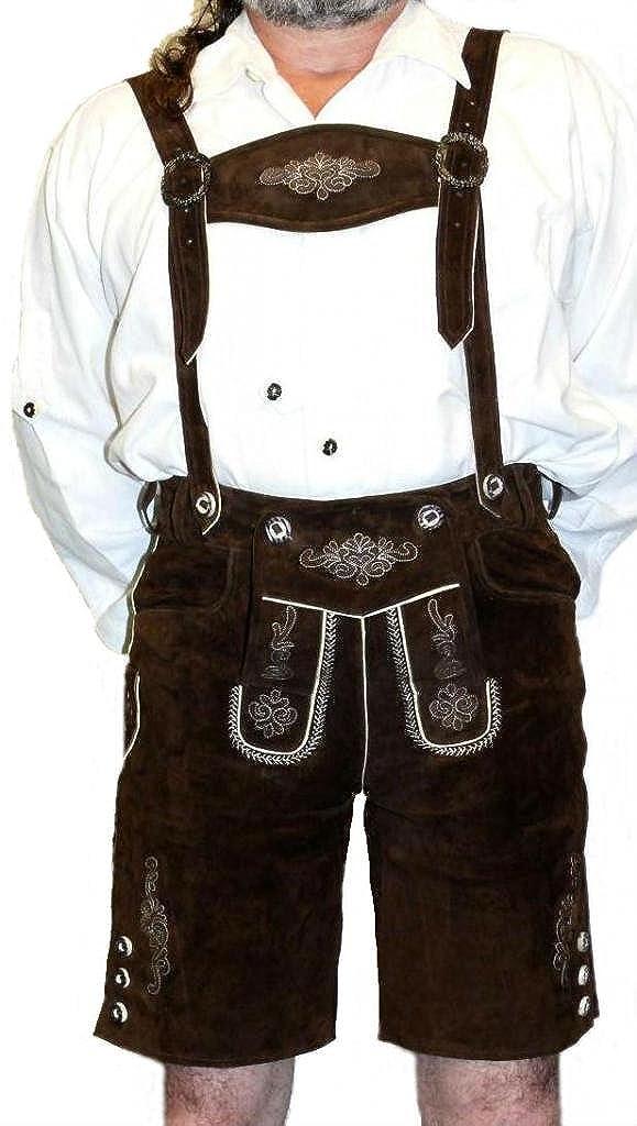 2-Piece Leather German Oktoberfest Lederhosen Shorts Brown