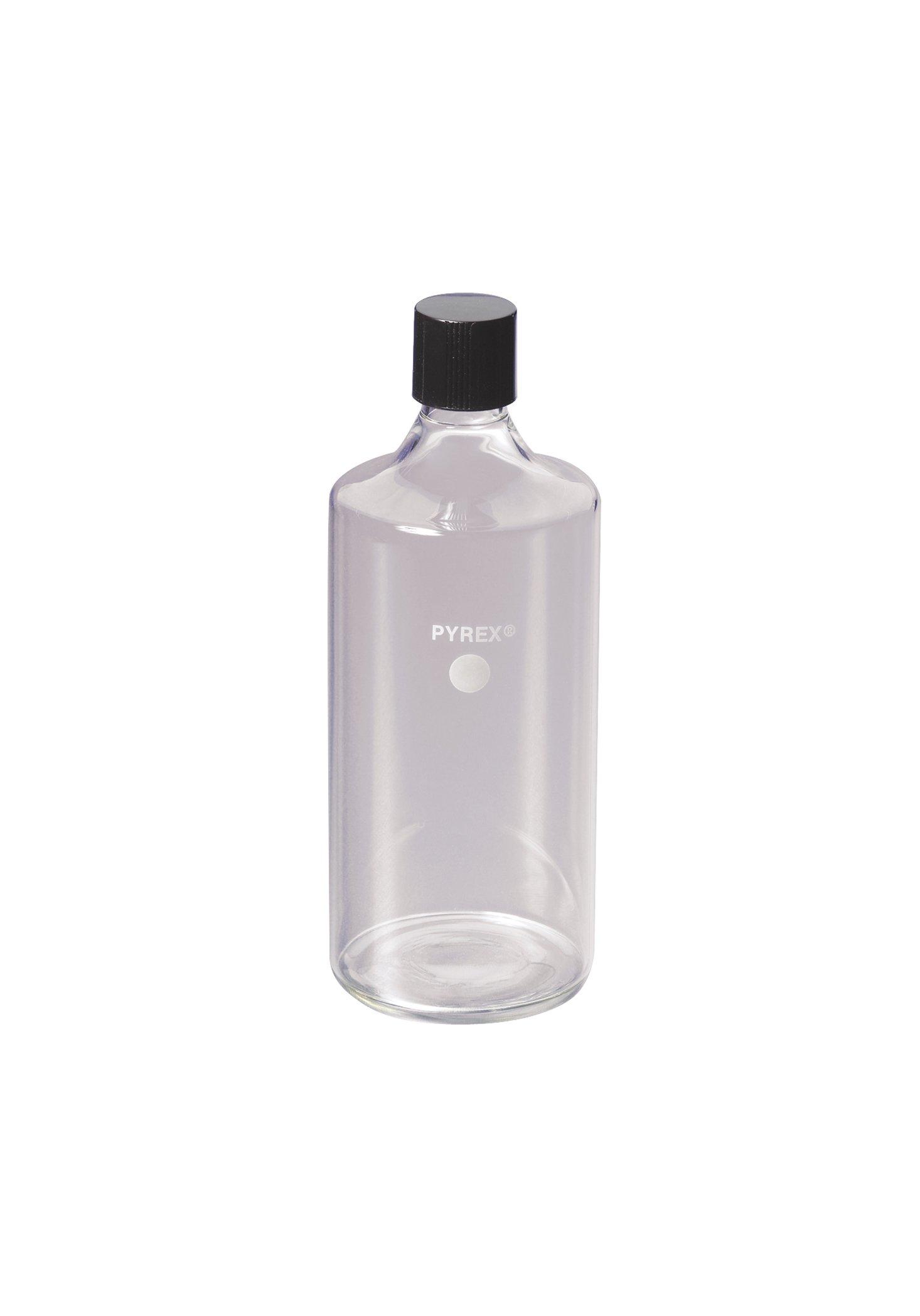 Corning Pyrex Borosilicate Glass Straight Neck Roller Bottles with 38mm Phenolic Screw Cap (Case of 2)