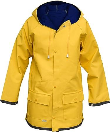Modas 'Friesennerz' de los hombres y las señoras lluvia chaqueta, amarillo/azul, Größe:Damen 54 = Herren 62