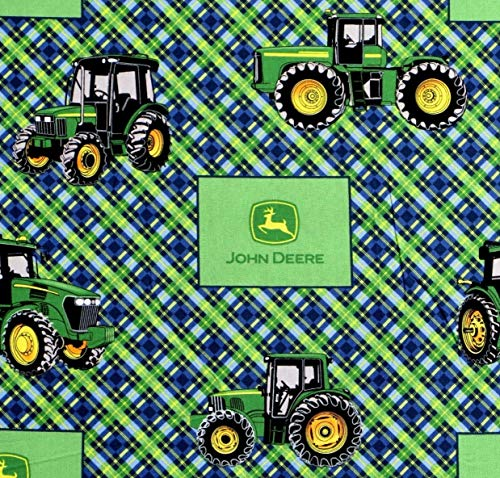 1/2 Yard - John Deere Tractor on Diagonal Plaid Cotton Fabric - Officially Licensed (Great for Quilting, Sewing, Craft Projects, Throw Pillows, Curtains, Valances & More) 1/2 Yard X - Pillow Cotton John