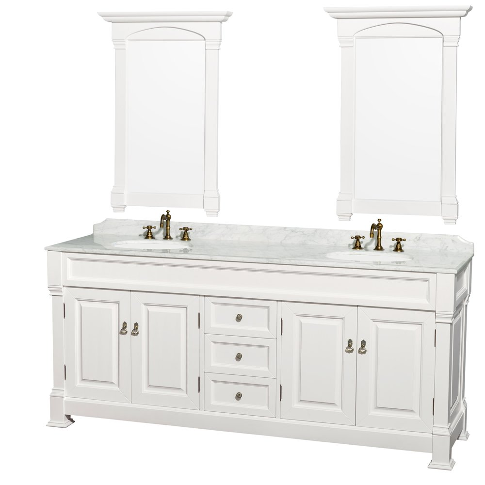 Wyndham Collection Andover 80 Inch Double Bathroom Vanity In White With  Carrera Marble Top Undermount Round Sinks And 28 Mirrors