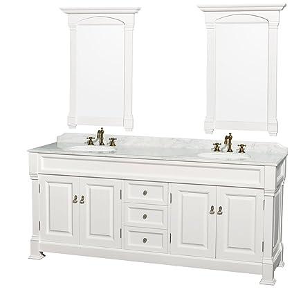 wyndham collection andover 80 inch double bathroom vanity in white rh amazon com 80 inch bathroom vanity cabinet 80 inch bathroom vanity without top