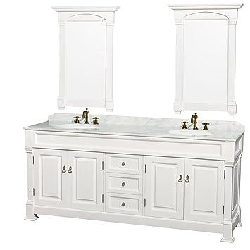 Wyndham Collection Andover Inch Double Bathroom Vanity In White - Bathroom vanities marble top