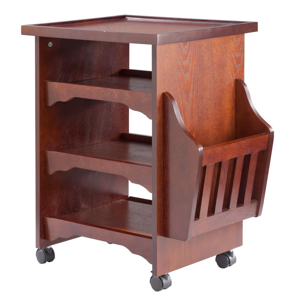 """OakRidge Miles Kimball Wood Finish Deluxe Rolling Multipurpose Table Accents, 18.5"""" W x 25.375"""" H x 18.875"""" L – Wooden Magazine/Book Rack Attachment with 3 Shelves and Sturdy Top Platform, Mahogany"""