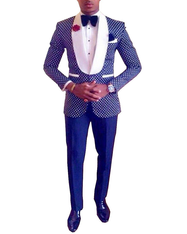 Pretygirl Men's Polka Dots Groomsmen Shawl Lapel Suit/Bridegroom/Wedding/Prom Suits (Suit+Pants) (40US/UK & 50EU,Royal Blue)