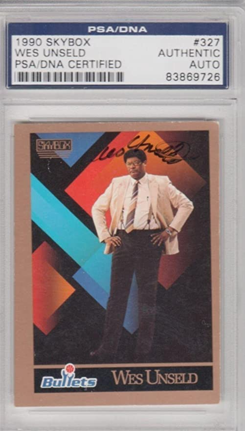 9c8208be22c8 Wes Unseld Washington Bullets 1990 SkyBox  327 Signed AUTOGRAPH - PSA DNA  Certified -