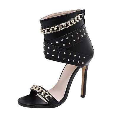 645704e630e70 Amazon.com  refulgence Fashion Women Studded Metal Stiletto Sandals Round  Toe Rivet High Heel Zipper Ladies Shoes  Clothing