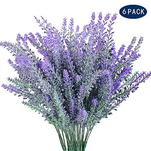 AILANDA 6 Pack Artificial Lavender Flower Plants Outdoor Fake Plastic Bouquets Farmhouse Floral Arrangements DIY for for Wedding, Home, Office, Garden, Patio Decoration