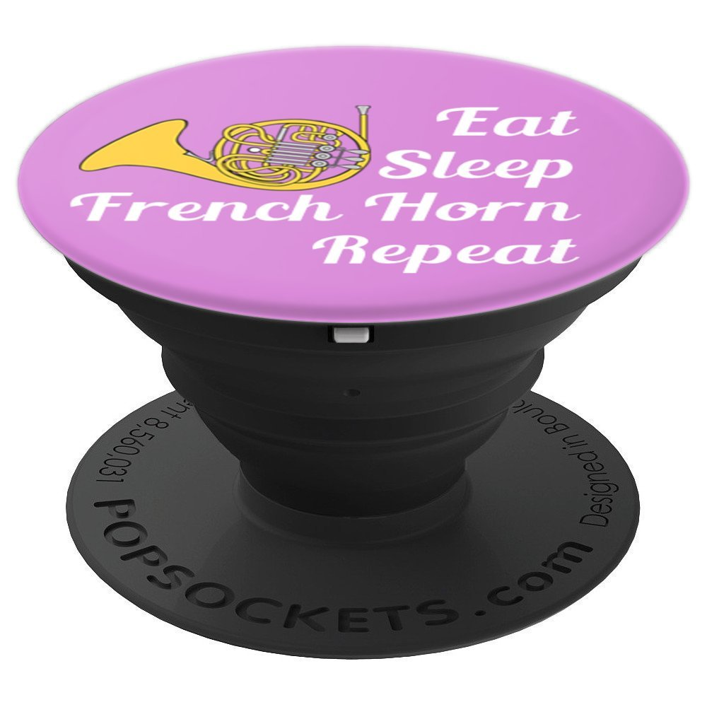 French Horn Player Gift Eat Sleep French Horn Repeat Purple - PopSockets Grip and Stand for Phones and Tablets
