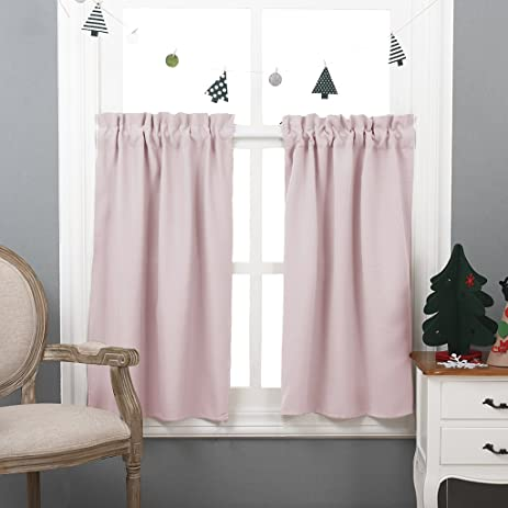 NICETOWN Half Window Blackout Curtains  Rod Pocket Tailored Tier /Valance  /Cafe Curtains (