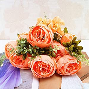 Gotian 1 Bouquet Vintage Artificial Peony Silk Flowers Bouquet for Wedding Party Home Decor 116