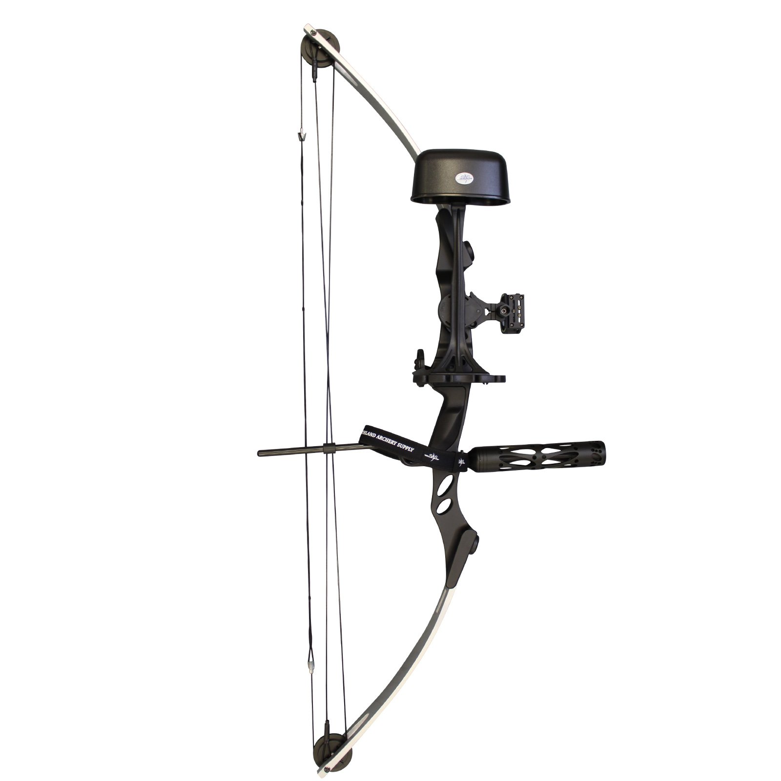 SAS Siege 55 lb 29'' Compound Bow w/ 5-Spot Paper Target (Silver/Black w/ Pro Package)