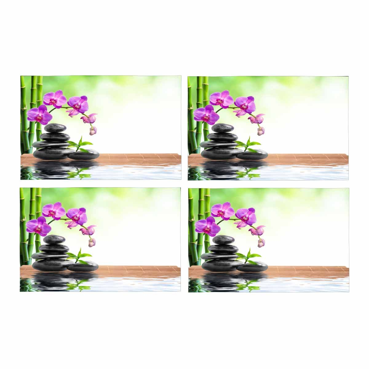 InterestPrint Spa Bamboo Orchids Water Placemat Table Mats Set of 4, Heat Resistant Place Mat for Dining Table Restaurant Home Kitchen Decor 12x18