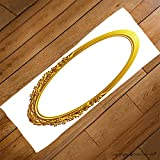 VROSELV Custom Towel Soft and Comfortable Beach Towel-golden oval frame with ornaments in gold for pictures or mirror Design Hand Towel Bath Towels For Home Outdoor Travel Use 27.6''x13.8''