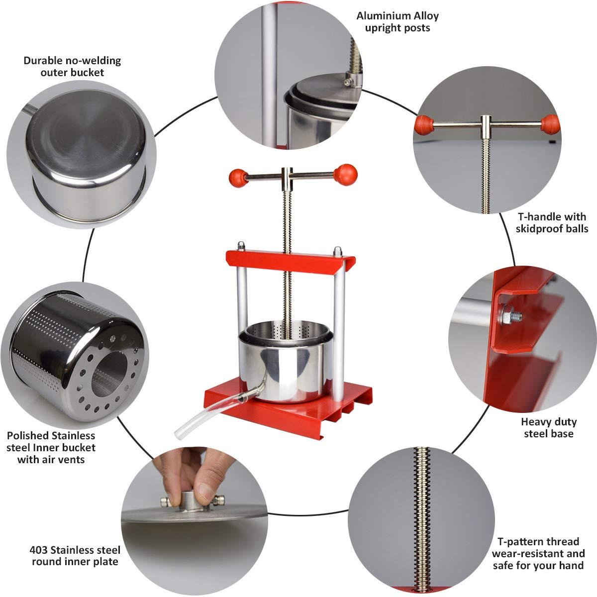 EJWOX 1.6 Gallon Stainless Steel Soft Fruit Wine Juice Press Cheese Making Press Tincture Press Herbal Press