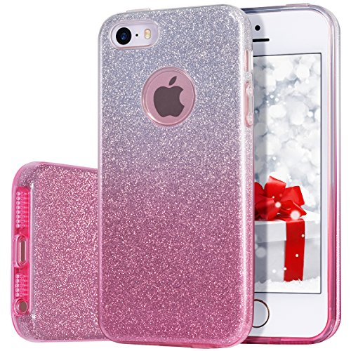 iPhone 5s/5 Case, MILPROX for Girls SHINY GLITTER CASE [Bling Crystal Clear][Extremely Sparkling], Slim Premium 3 Layer Hybrid, Anti-Slick/ Protective/ Soft Case, iPhone SE Case-Pink+Silver