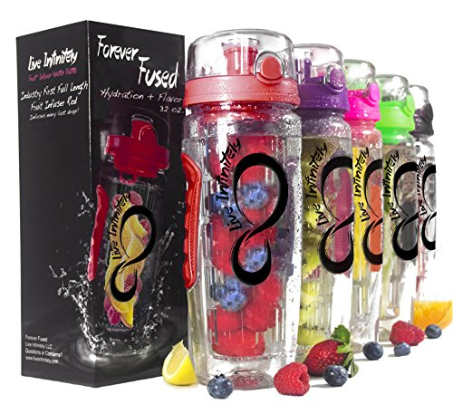 Live Infinitely 32 oz. Infuser Water Bottles - Featuring a Full Length Infusion Rod, Flip Top Lid, Dual Hand Grips & Recipe Ebook Gift (Dark Red, 32 oz)