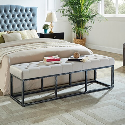 WEMART Upholstered Tufted Long Bench with Metal Frame Leg, Ottoman with Padded Seat-Pearl