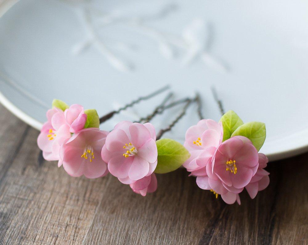 Flower hair pins - cherry blossom hair accessories - pink hair flowers -wedding hair pins - wedding hair jewelry - sakura flowers for hair