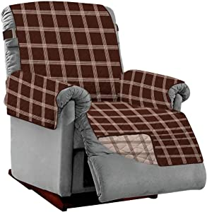 Sofa Shield Original Patent Pending Reversible Small Recliner Protector, Many Colors, Seat Width to 25 Inch, Furniture Slipcover, 2 Inch Strap, Reclining Chair Slip Cover Throw, Plaid Chocolate Beige