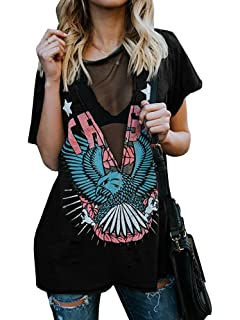 6876266dad11ce Karlywindow Womens Distressed Eagle Print Mesh V Neck Loose Graphic Short  Sleeve T-Shirt Tops