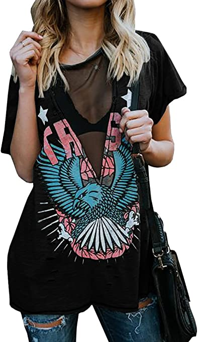 Women's Distressed Hawk Print V Neck Short Sleeve T-Shirt