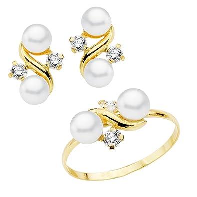 a17b08386fd6 Iyé Biyé Jewels Conjunto niña mujer oro amarillo 18 ktes 1ª Comunión anillo  y pendientes con perlas y circonitas  Amazon.es  Joyería