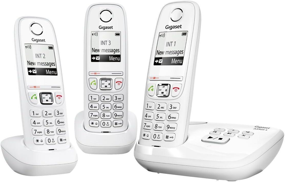 Gigaset AS405A Trio Blanc - Teléfono fijo digital (manos libres), blanco [Versión Importada]: Amazon.es: Electrónica