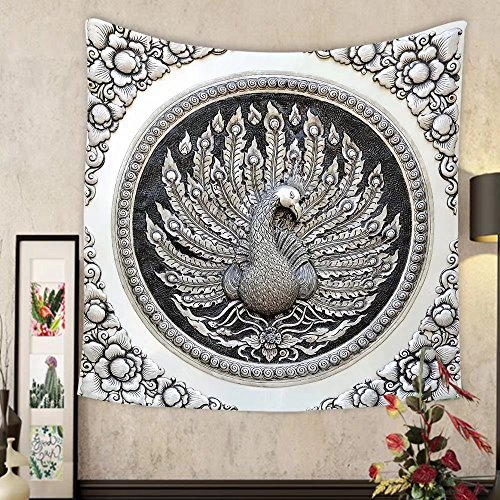 Lee S. Jones Custom tapestry frame engraving silver lacquer plate show peacock animals in mythology fine art global crafts thai by Lee S. Jones