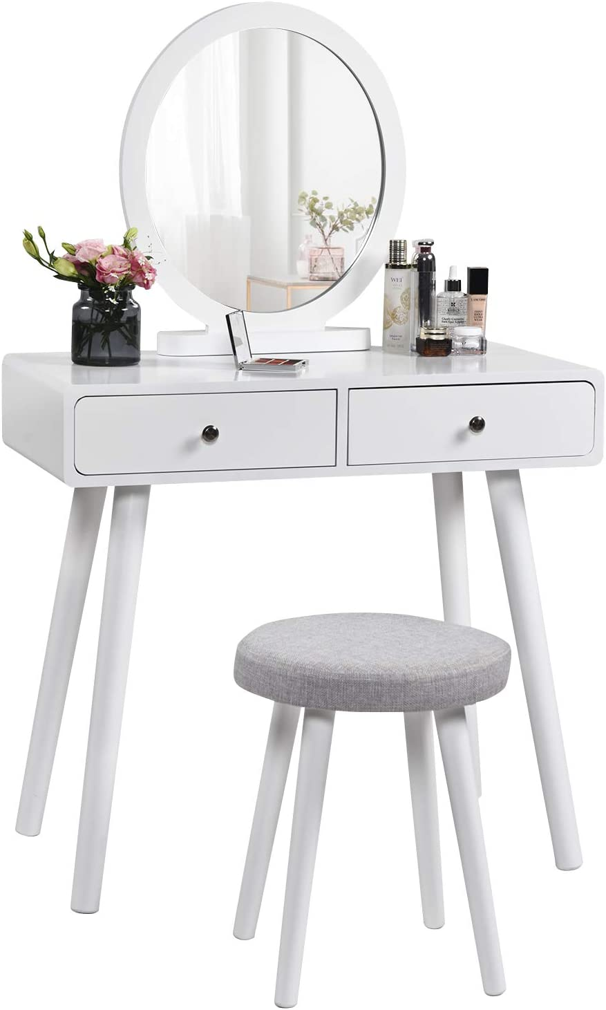 Vanity Set with Round Mirror 2 Large Drawers, Makeup Dressing Table with Removable Cushioned Stool, Modern Bedroom Vanity Desk for Girls Women, Easy Assembly, White