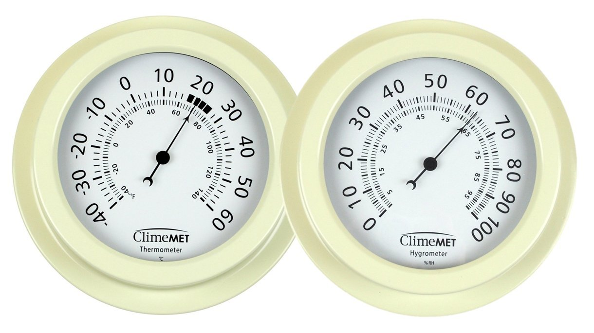 ClimeMET CM4302 Thermometer and CM4303 Hygrometer - Temperature and Humidity Dial Set.(Grey)