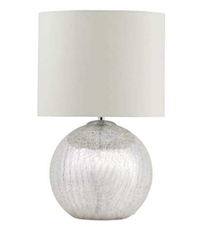 Modern Cortez Chrome Crackle Glass Table Lamp Bedside Light With