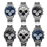 Men Crystal Watch Trendy Stainless Steel Quartz Wrist Watch Buisness Luxury Colock