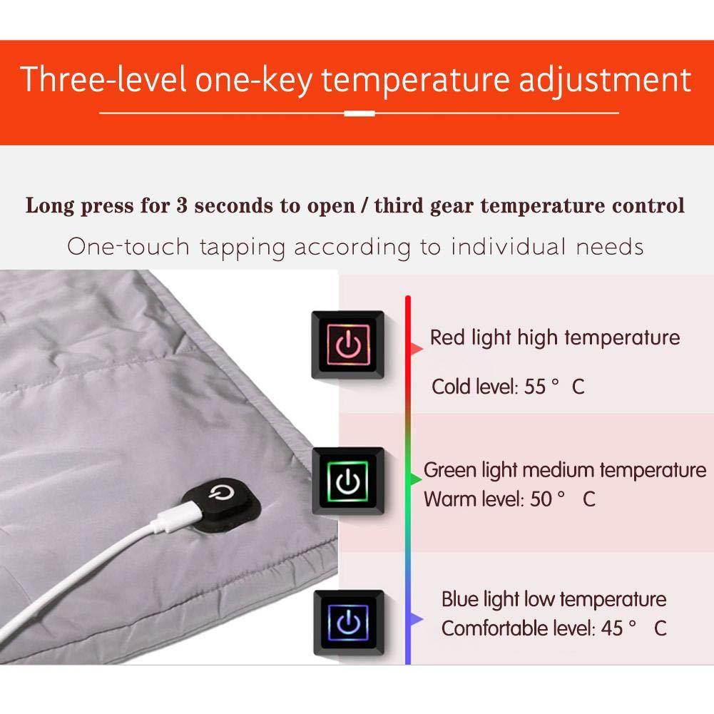Veste Chauffante Multifonctionnelle en Coton Couverture /Électrique 9W USB /Écharpe Tapis Chauffant /Électrique Gris 120 80CM
