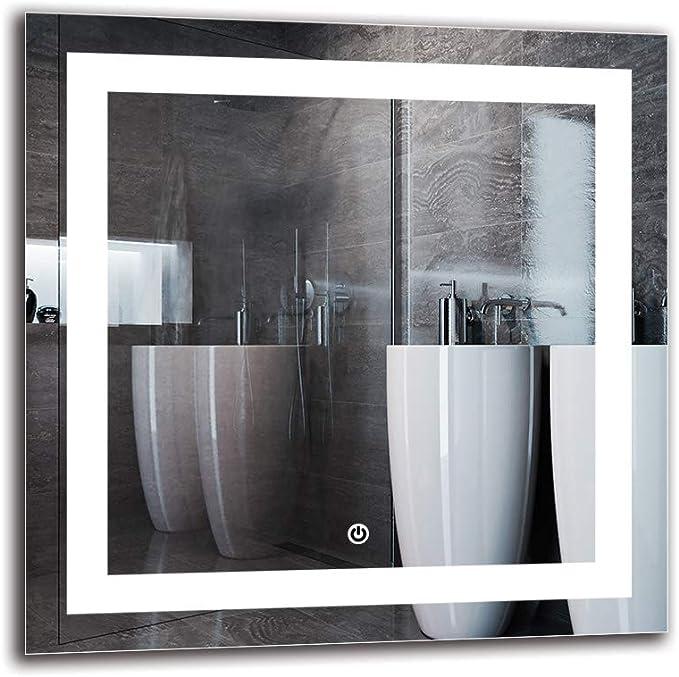 Espejo LED Deluxe - Dimensiones del Espejo 40x40 cm - Interruptor ...