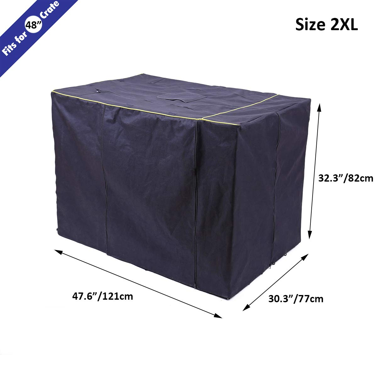 Speedy Pet Waterproof Dog Kennel Covers Durable Windproof Dust-Proof Crate Cover Indoor/Outdoor for Dog Cage Black (2XL(47.6'' x 30.3'' x 32.3''), Black) by Speedy Pet (Image #6)