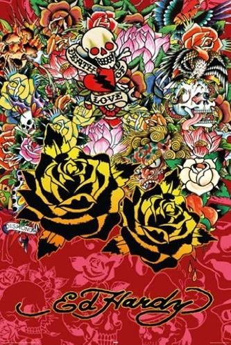 Buyartforless Ed Hardy Black Rose  36x24 Tattoo Art Print Po