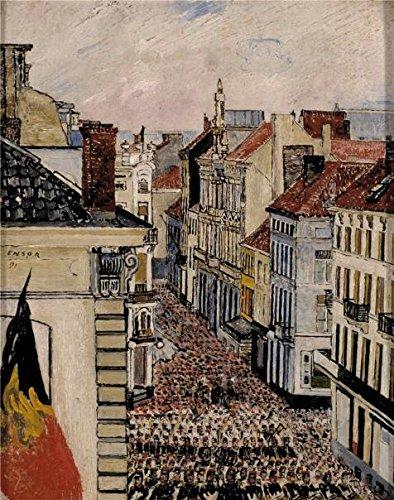 'James Ensor - Music In The Flanders Street, Ostend,1891' Oil Painting, 8x10 Inch / 20x26 Cm ,printed On High Quality Polyster Canvas ,this Replica Art DecorativeCanvas Prints Is Perfectly Suitalbe For Wall Art Decoration And Home Decor And Gifts