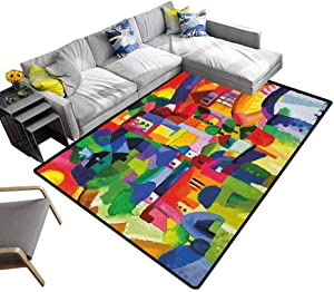 Art Rug Pad Modern Vivid Abstract Architectural Buildings Urban Apartment Houses Village Landmark Bedroom Hallway Rug Multicolor (5'x7')