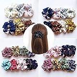 18 Pcs Colors Women's Chiffon Flower Hair Scrunchies Hair Bow Chiffon Ponytail Holder,Including 18 Colors Chiffon Flower Hair Scrunchies for Women or Girls Ponytail Holder Hair Accessories