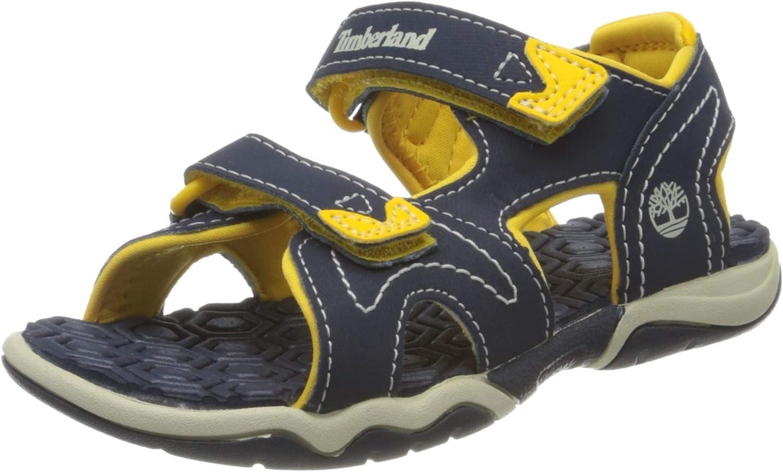 Timberland Unisex-childAdventure Seeker Two-Strap Sandal ,Navy/Yellow,5 M US Big Kid