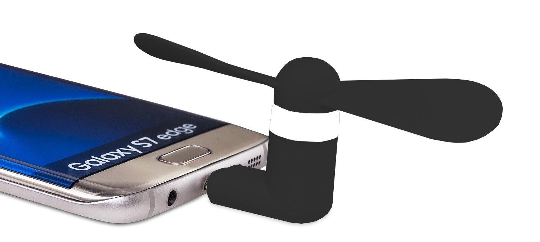 MyGadget Ventilador Micro USB Port/átil para Tel/éfono M/óvil Smartphone Android Nexus Sony Negro Fan El/éctrico OTG en Samsung S7 Edge HTC S6