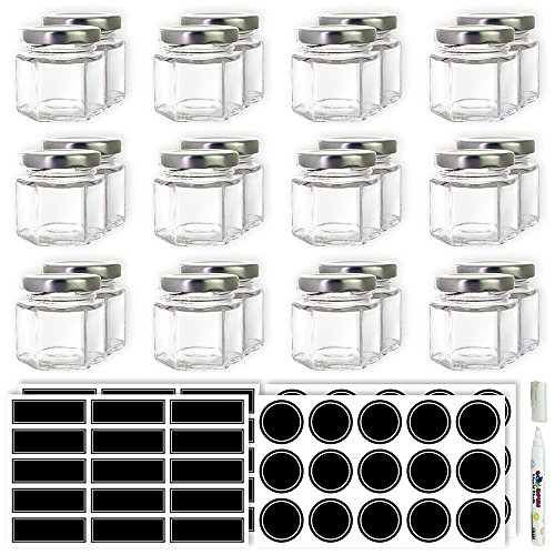 Mini Hexagon Glass Jars - 1.5 oz Set of 24 Glass Jars with Silver Caps with Chalkboard Labels and Marker - Perfect for Spices, Honey, Canning, Gifts and Crafts
