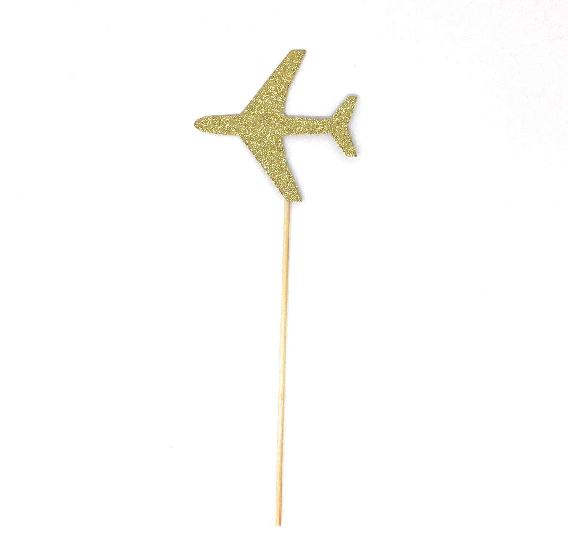 PaperGala Airplane Double Sided Centerpiece Sticks Set of 8 Real Glitter (Gold)